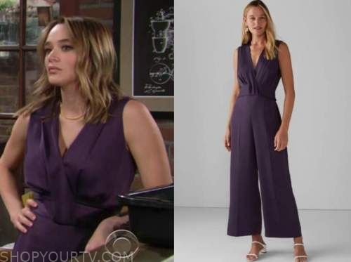 summer newman, hunter king, the young and the restless, purple jumpsuit
