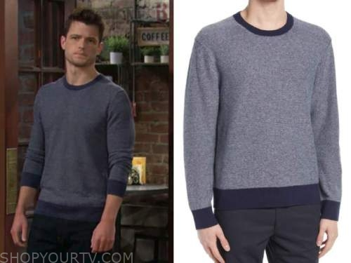 michael mealor, kyle abbott, the young and the restless, navy blue sweater