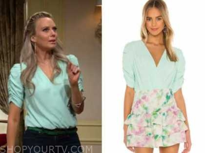 abby newman, melissa ordway, the young and the restless, mint green bodysuit top