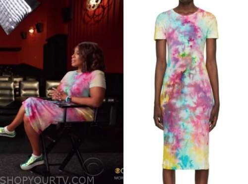 gayle king, cbs this morning, rainbow multicolor tie dye dress