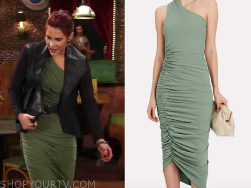 sally spectra, courtney hope, the young and the restless, green ruched one-shoulder dress