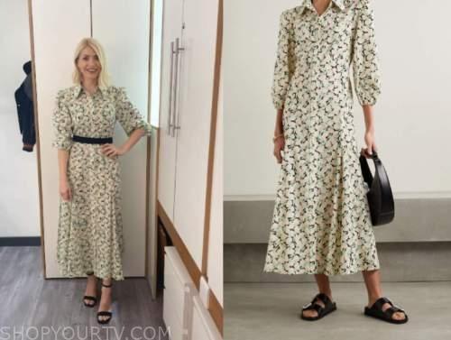 holly willoughby, this morning, shell print midi shirt dress