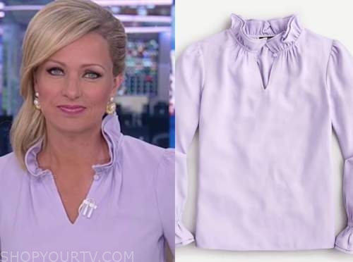 sandra smith, purple ruffle top, america reports, fox news