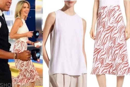 amy robach, good morning america, white top, zebra skirt