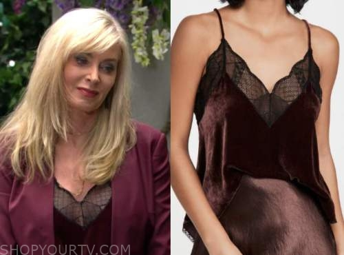 ashley abbott, eileen davidson, the young and the restless, burgundy velvet camisole top