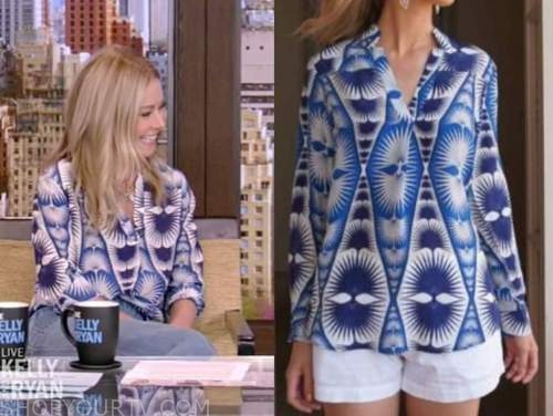 live with kelly and ryan, kelly ripa, blue and white printed tunic top