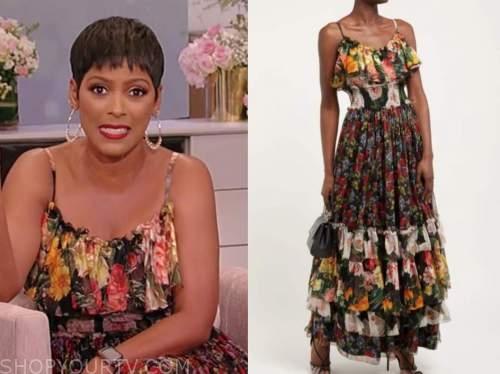 tamron hall, tamron hall show, floral mixed print maxi dress