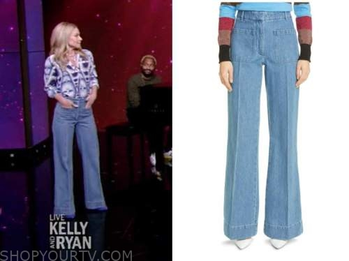 live with kelly and ryan, kelly ripa, wide leg jeans