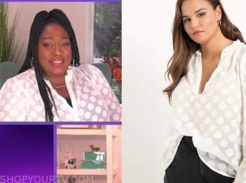 loni love, the real, white dot tunic top