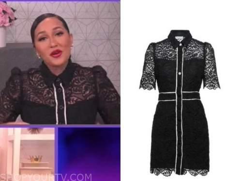adrienne bailon, the real, black lace contrast trim collar dress