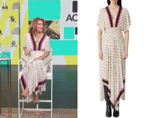 kit hoover, access daily, white printed monogram maxi dress