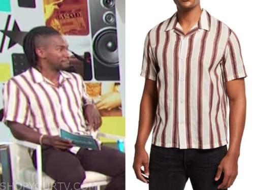 scott evans, access daily, striped bowling shirt
