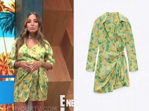 lilliana vazquez, E! news, daily pop, yellow and green printed dress
