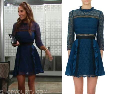 lily winters, christel khalil, the young and the restless, blue lace pleated dress, neil winters tribute