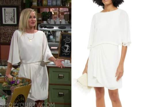 sharon newman, sharon case, the young and the restless, white draped dress, neil winters memorial