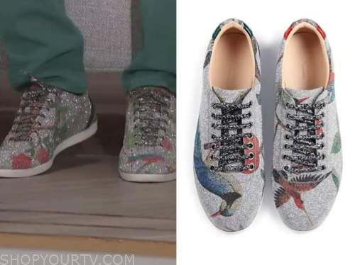 deon cole, the talk, glitter sequin printed sneakers