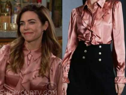 victoria newman, amelia heinle, the young and the restless, pink silk ruffle shirt