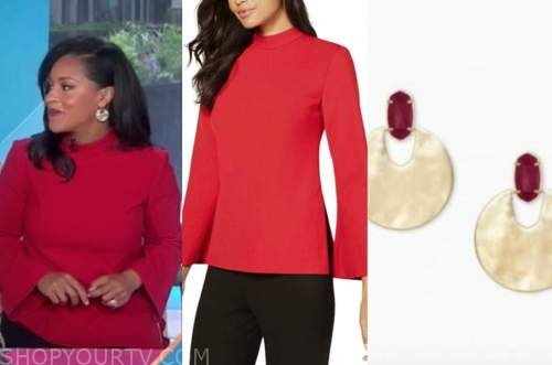 sheinelle jones, the today show, red mock neck top, gold disc earrings