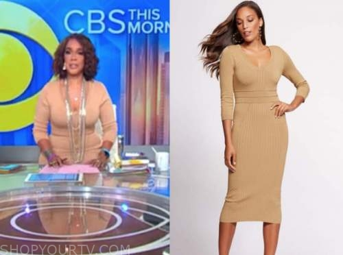 gayle king, camel knit dress, cbs this morning
