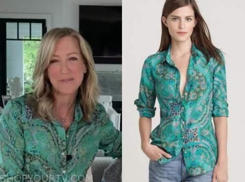 lara spencer, good morning america, green paisley print shirt