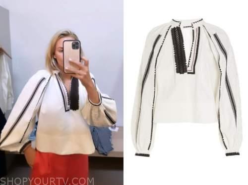 morgan stewart, instagram fashion, white embroidered blouse