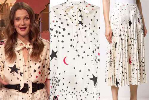 drew barrymore, drew barrymore show, white star print tie neck top and skirt, dress