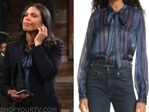 karla mosely, amanda sinclair, the young and the restless, blue and purple striped tie neck blouse