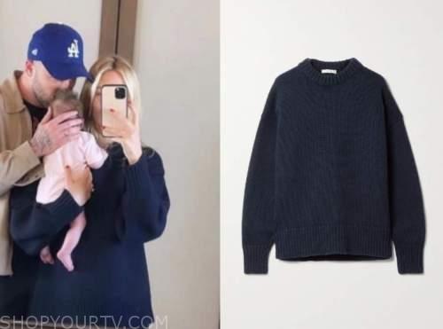 morgan stewart, navy blue sweater, instagram fashion