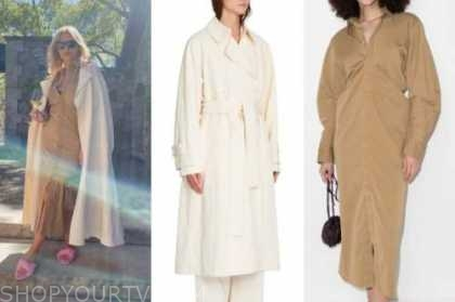 morgan stewart, ivory trench coat, tan shirt dress, pink slide sandals, black sunglasses