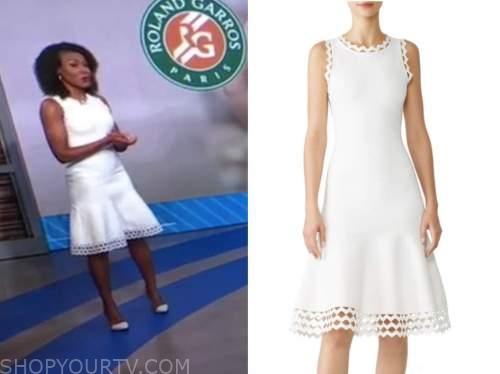 janai norman, white knit cutout dress, good morning america