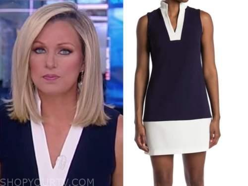 sandra smith, america reports, navy blue and white contrast trim shift dress