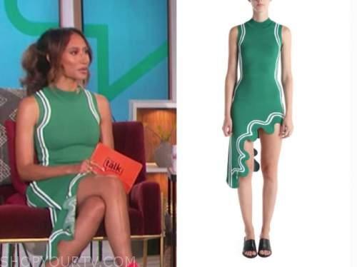 elaine welteroth, the talk, green wavy asymmetric dress