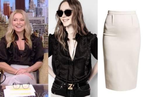 kelly ripa, live with kelly and ryan, black ruffle top, pencil skirt