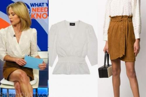 amy robach, good morning america, white embroidered top, brown suede skirt