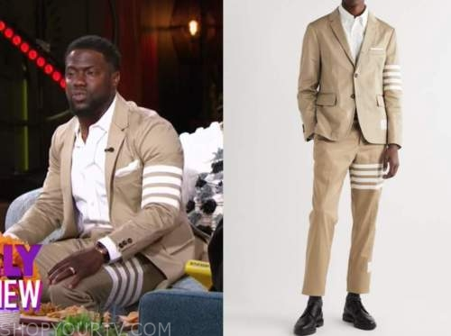 kevin hart, the kelly clarkson show, beige striped jacket and pant suit