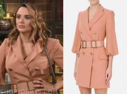 summer newman, hunter king, the young and the restless, peach double breasted blazer dress