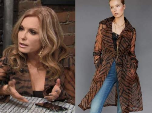 lauren fenmore baldwin, tracey bregman, the young and the restless, tiger trench coat