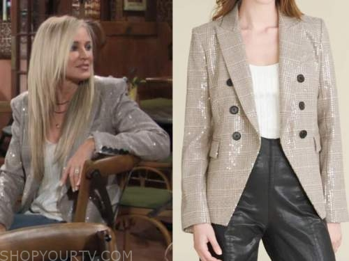 sharon newman, sharon case, the young and the restless, sequin double breasted blazer