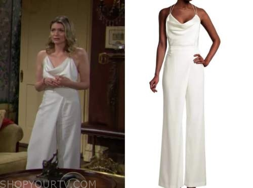 tara locke, the young and the restless, white jumpsuit, Elizabeth Leiner