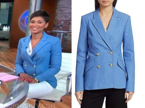 jericka duncan, cbs this morning, blue double breasted blazer
