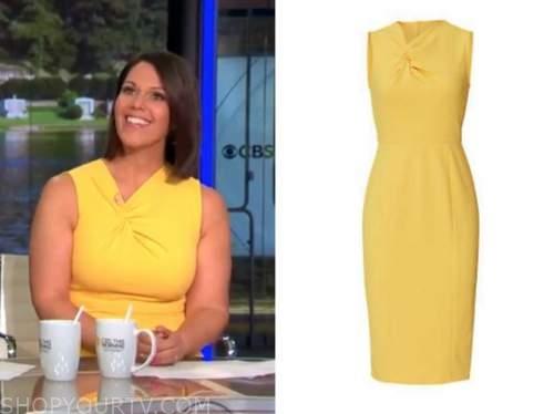 dana jacobson, cbs this morning, yellow twist knot sheath dress