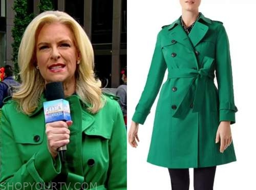 janice dean, fox and friends, green trench coat