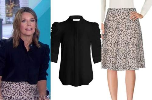 savannah guthrie, the today show, black top, leopard skirt