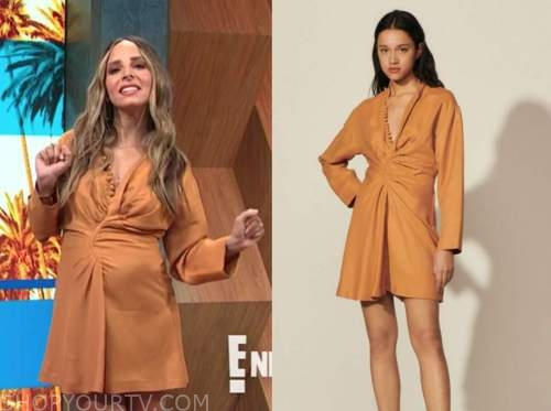 lilliana vazquez, camel brown dress, E! news, daily pop