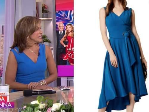 the today show, hoda kotb, blue v-neck dress