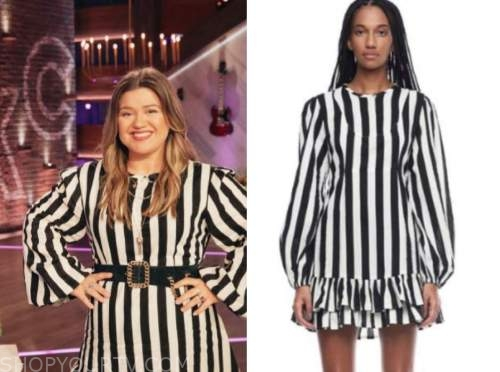 kelly clarkson, the kelly clarkson show, black and white striped dress