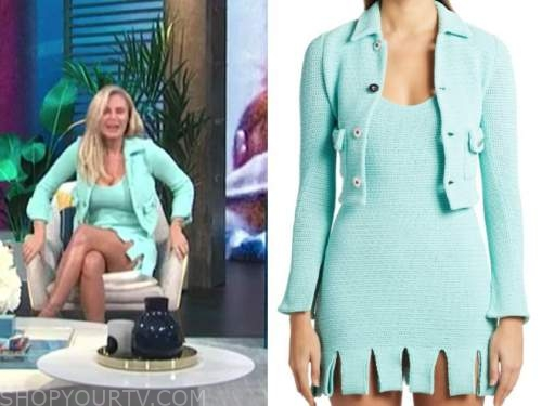 morgan stewart mcgraw, e! news, daily pop, mint green blue knit jacket and dress