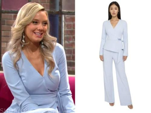 abby newman, melissa ordway, the young and the restless, light blue wrap jumpsuit