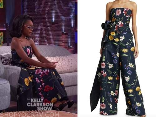 marsai martin, the kelly clarkson show, navy blue floral strapless top and pants