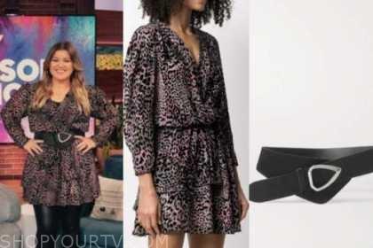 kelly clarkson, the kelly clarkson show, pink leopard dress, black waist belt